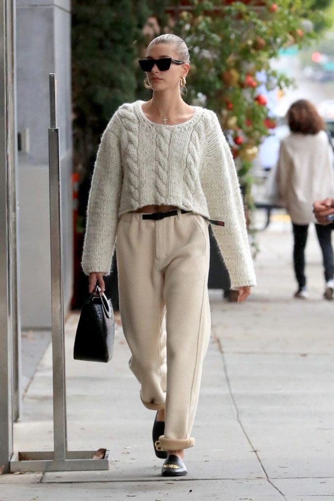 Hailey Rhode Bieber in Knitted Crochet Sweater Top – Beverly Hills 12-08-2019