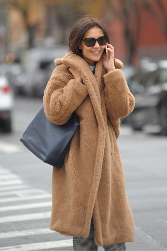 Katie Holmes in a Faux Fur Coat and Checked Trousers – Out in NYC 12-06-2019