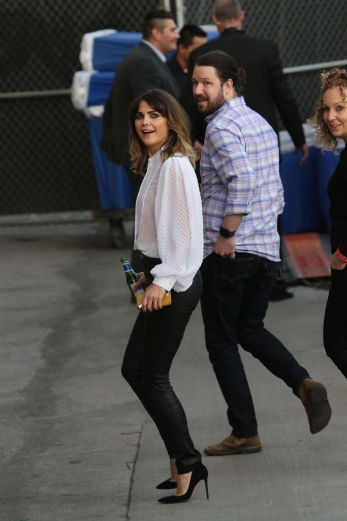 Arrives at Jimmy Kimmel Live in LA 2019: Keri Russell