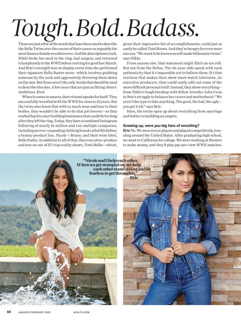 Brie Bella and Nikki Bella – Health Magazine January 2020 Issue