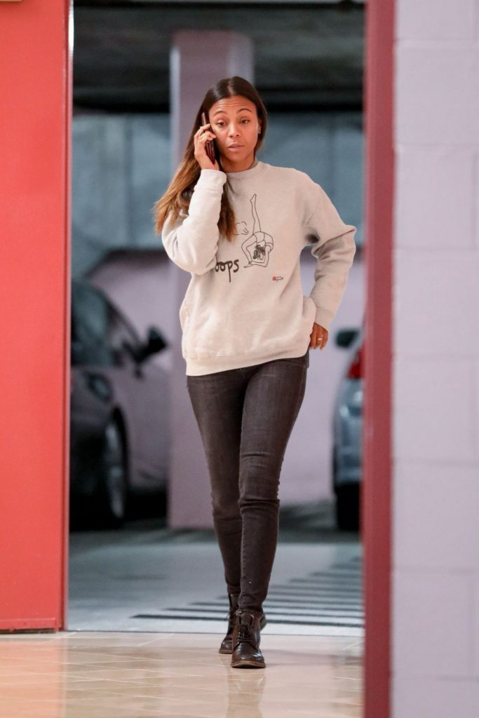 Zoe Saldana Talks on Her Phone in Beverly Hills