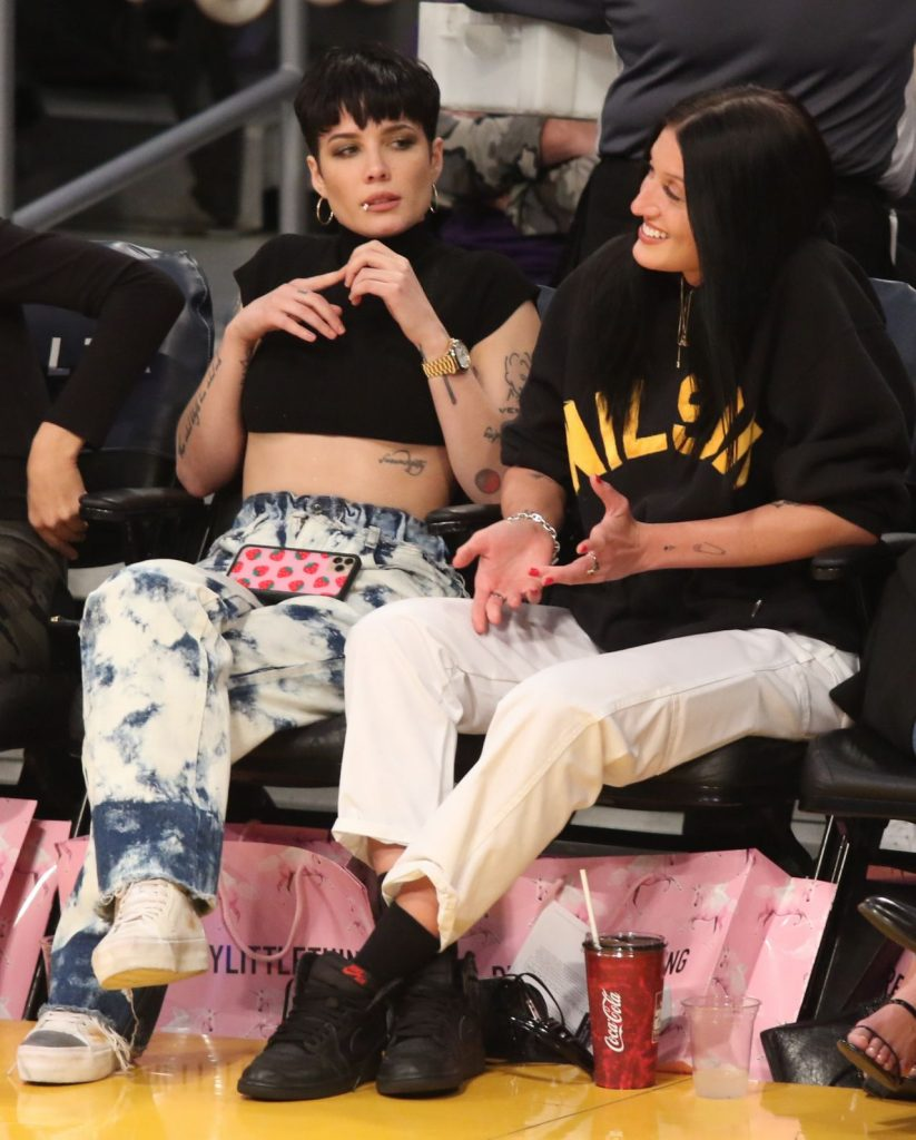 Halsey – Basketball Game at the Staples Center in LA January 2020 (10 Photos)