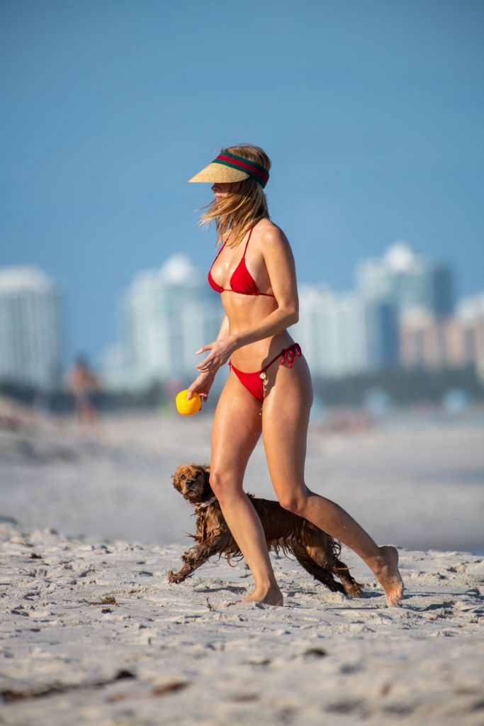 Kimberley Garner in a Red Bikini at Miami beach January 2020