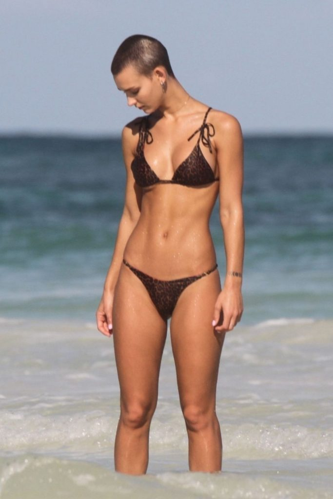 Rachel Cook in a Bikini on the Beach in Tulum January 2020