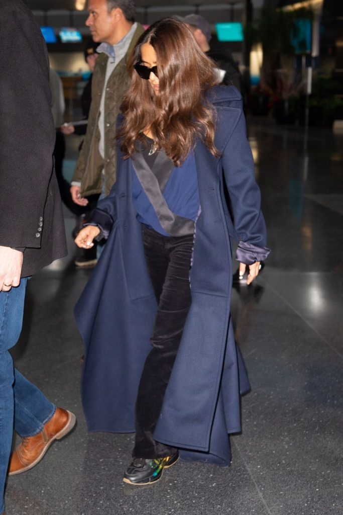 Salma Hayek – Arriving in New York City January 2020