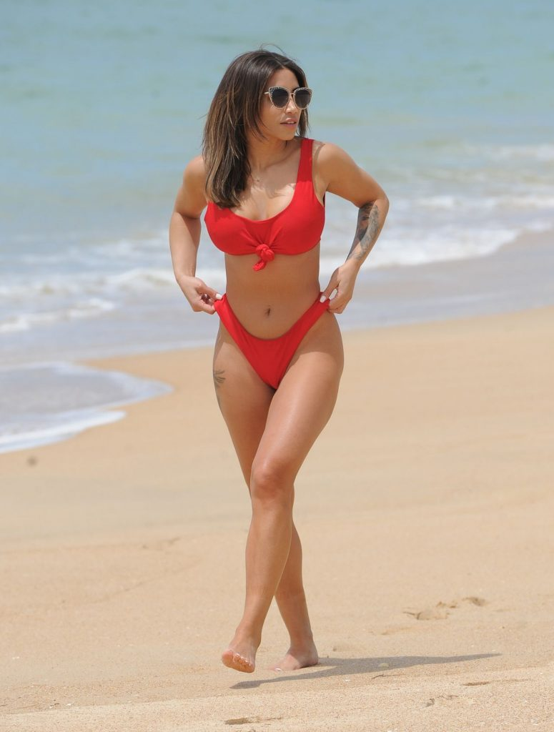 Kayleigh Morris: Red Bikini on the Beach in Tenerife 2020 (12 Photos)