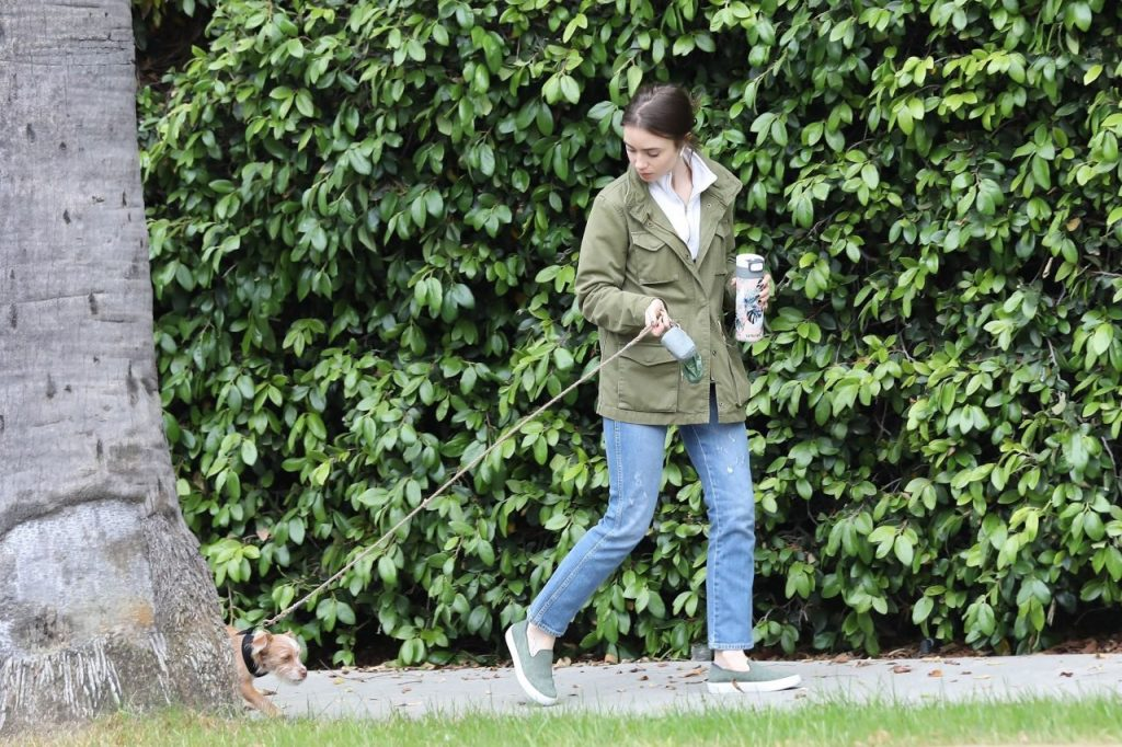Lily Collins – Takes Her Dog For a Stroll in Beverly Hills 2020 (7 Photos)