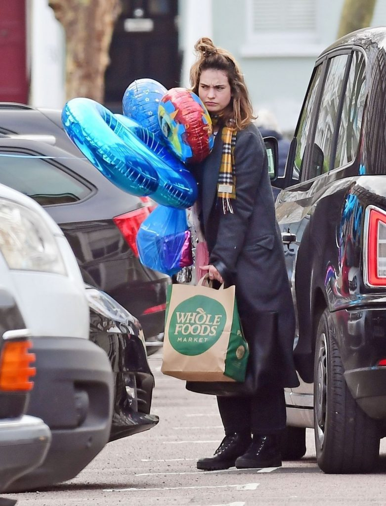 Lily James at Whole Foods in London 2020 (7 Photos)