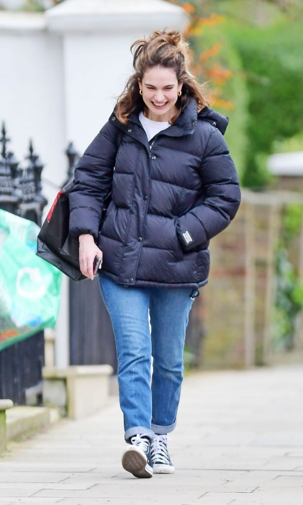 Lily James – Out in North London 2020 (7 Photos)