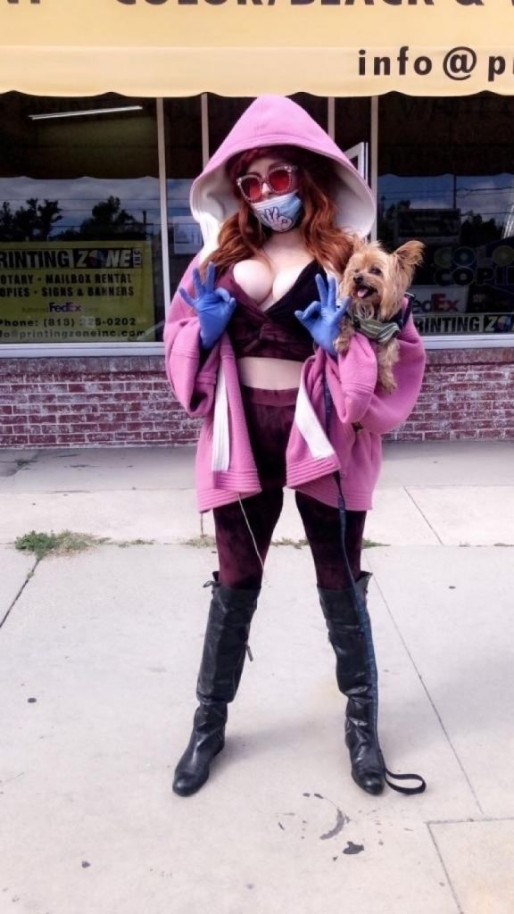 Phoebe Price in a Purple Ensemble With a Surgical Mask and Gloves 2020 (10 Photos)