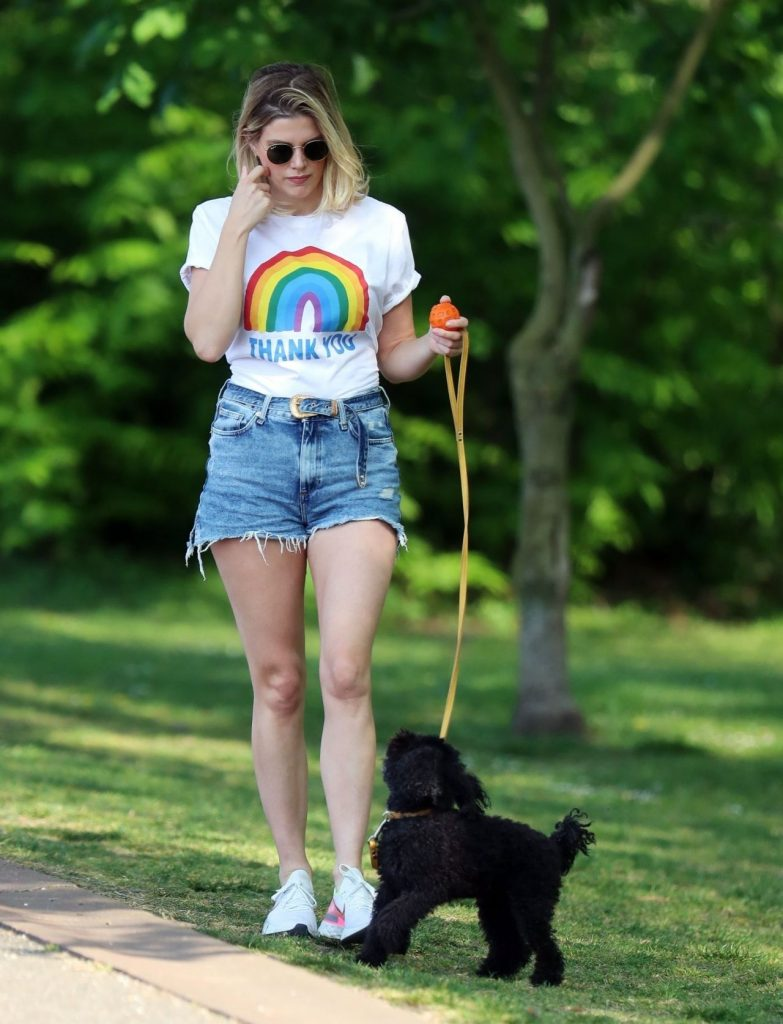 Ashley James in Shorts – Walking Her Dog 2020 (13 Photos)