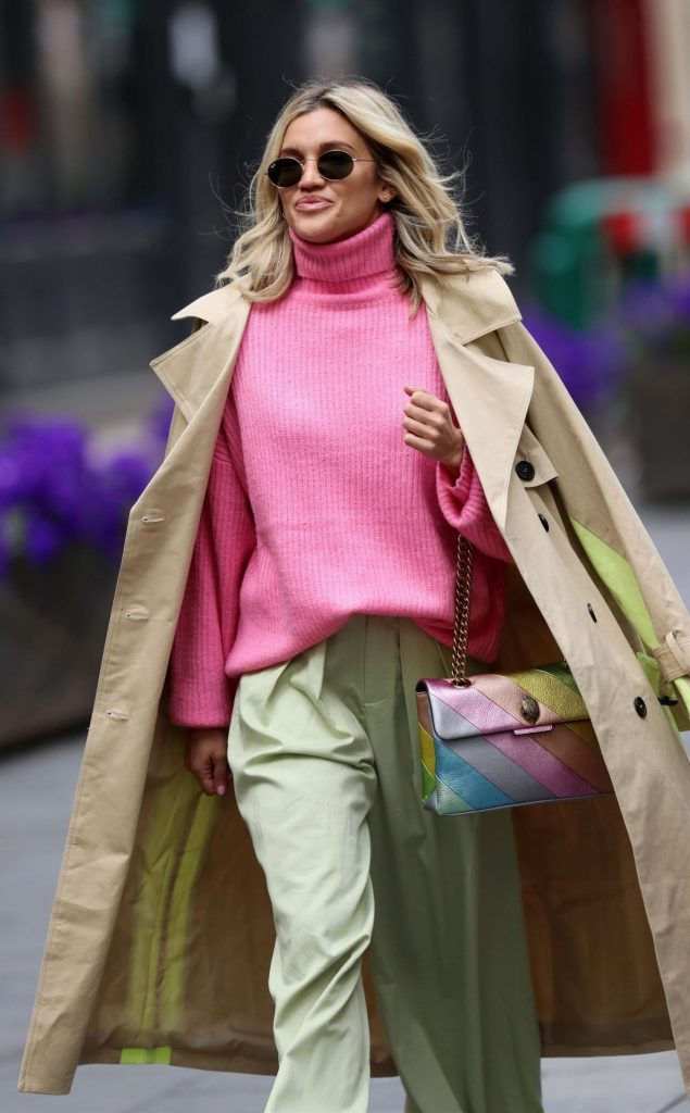 Ashley Roberts in a Pink Jumper and Green Trousers – London 2020 (10 Photos)