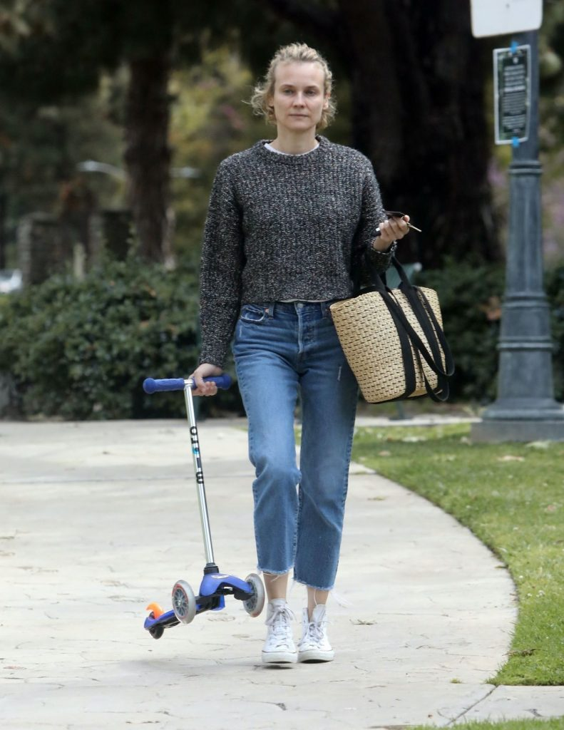 Diane Kruger Wiping Down a Park Bench – Los Angeles 2020 (10 Photos)