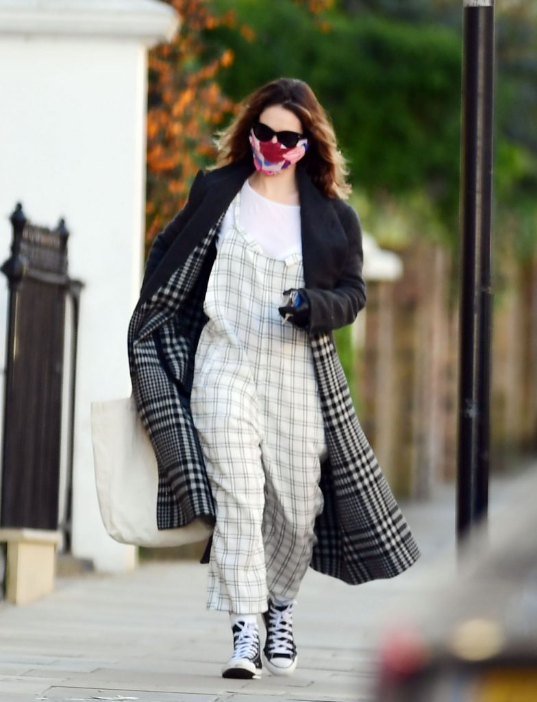 Lily James Wearing a Protective Face Mask – North London 2020 (7 Photos)