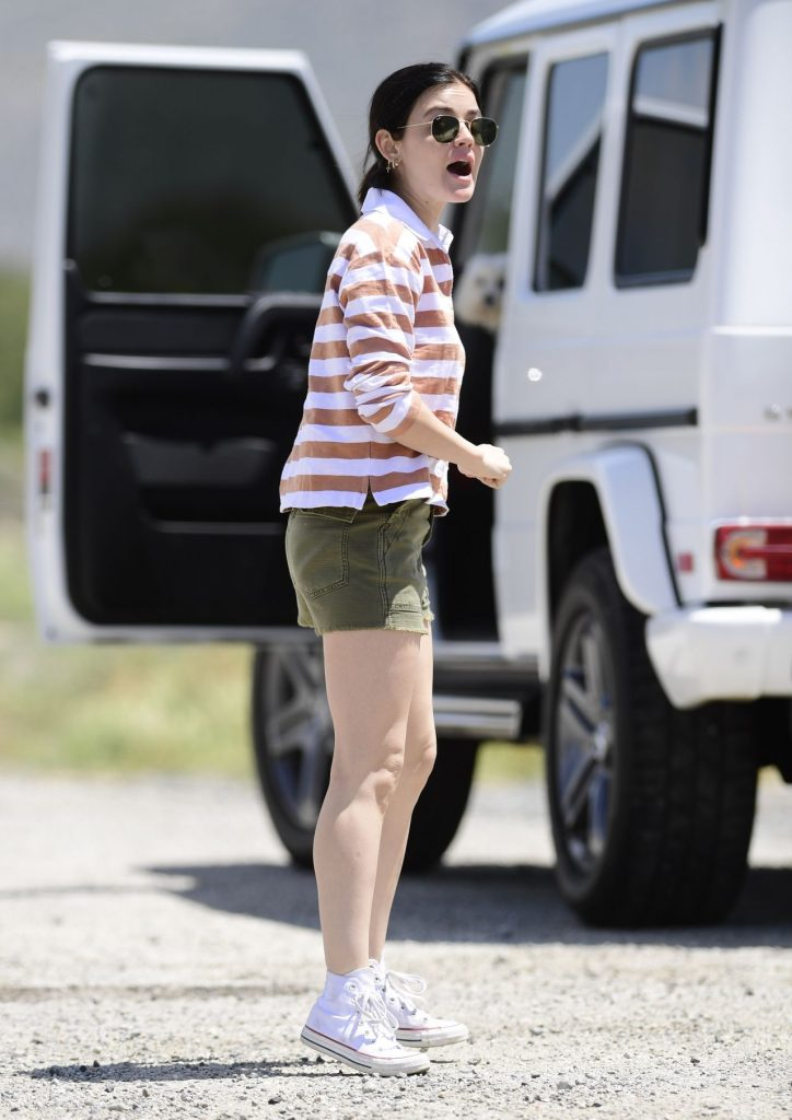 Lucy Hale in Shorts – Los Angeles 2020 (4 Photos)