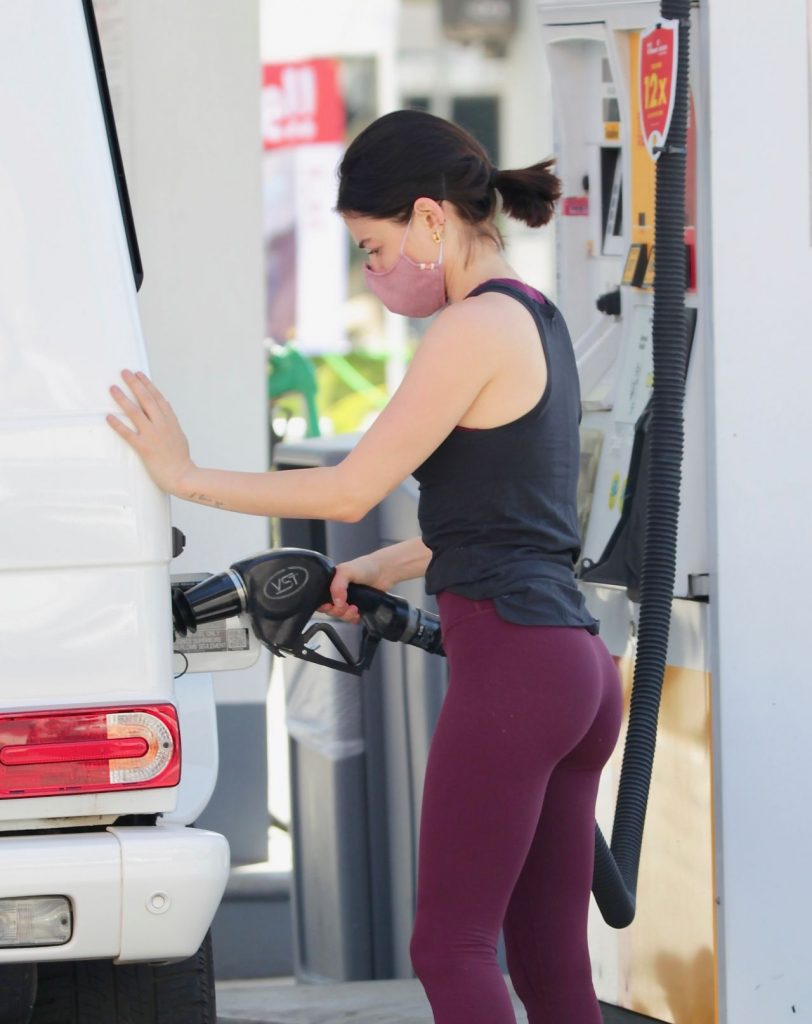 Lucy Hale Street Style – Getting Gas in Studio City 2020 (12 Photos)