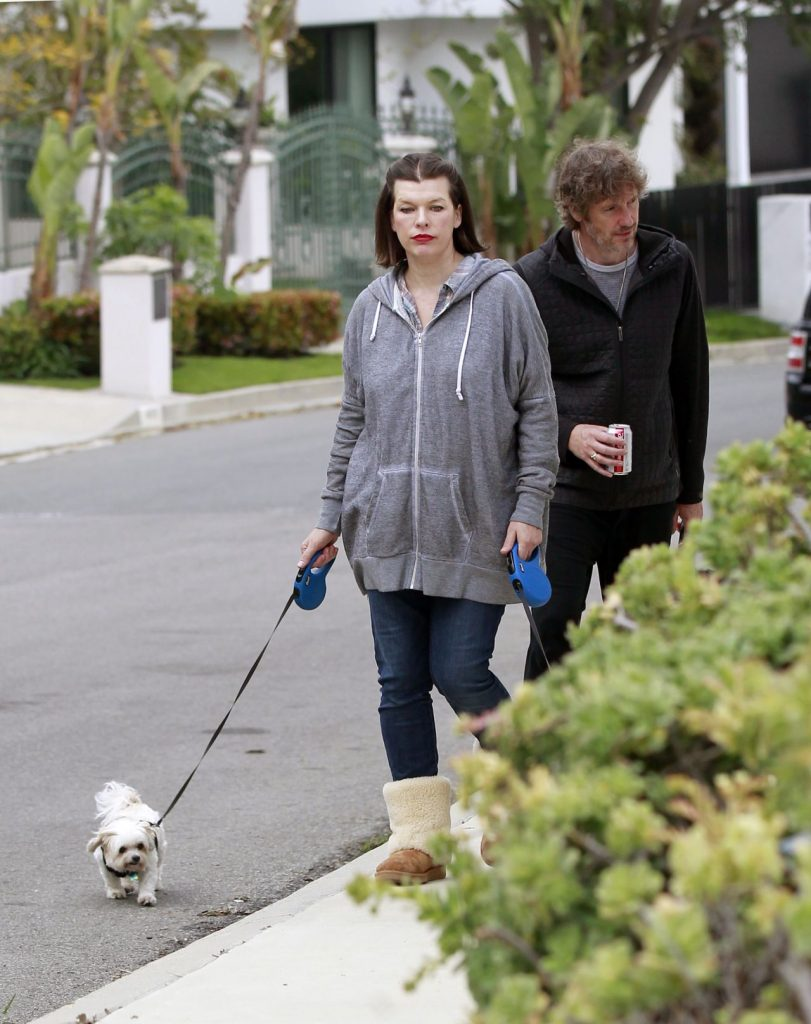Milla Jovovich – Walking Her Dogs in Beverly Hills 2020 (7 Photos)