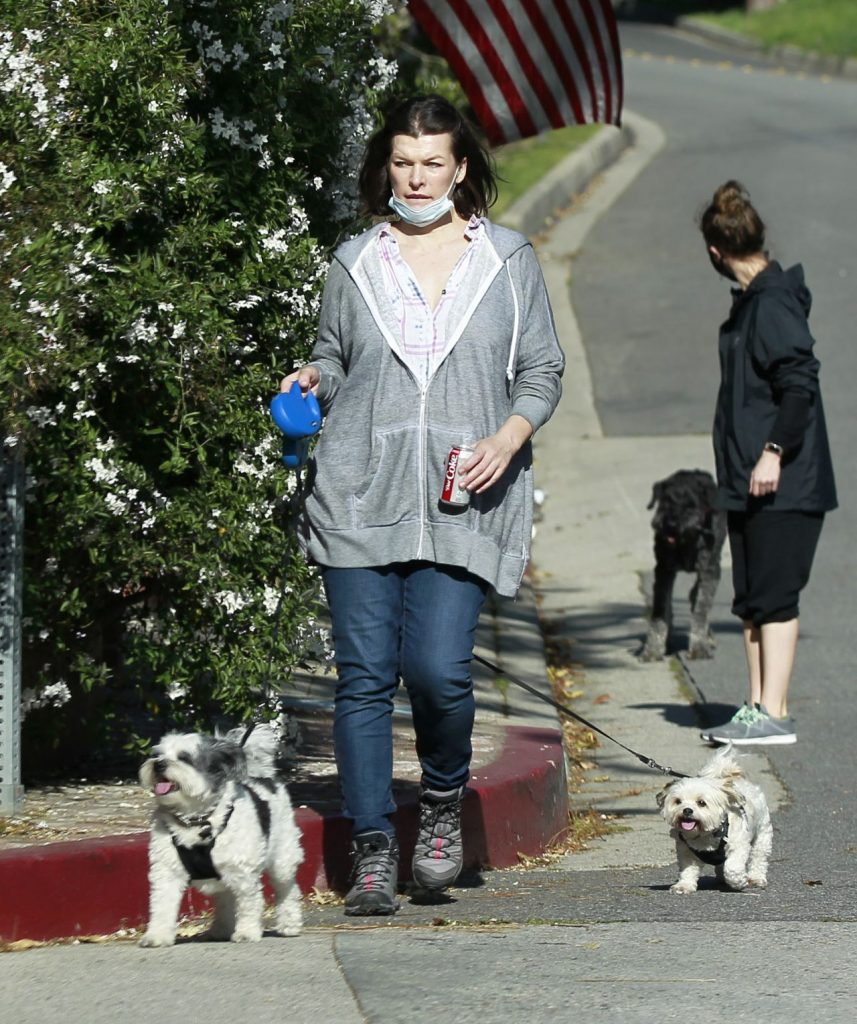 Milla Jovovich – Walking Her Dogs in Los Angeles 2020 (4 Photos)