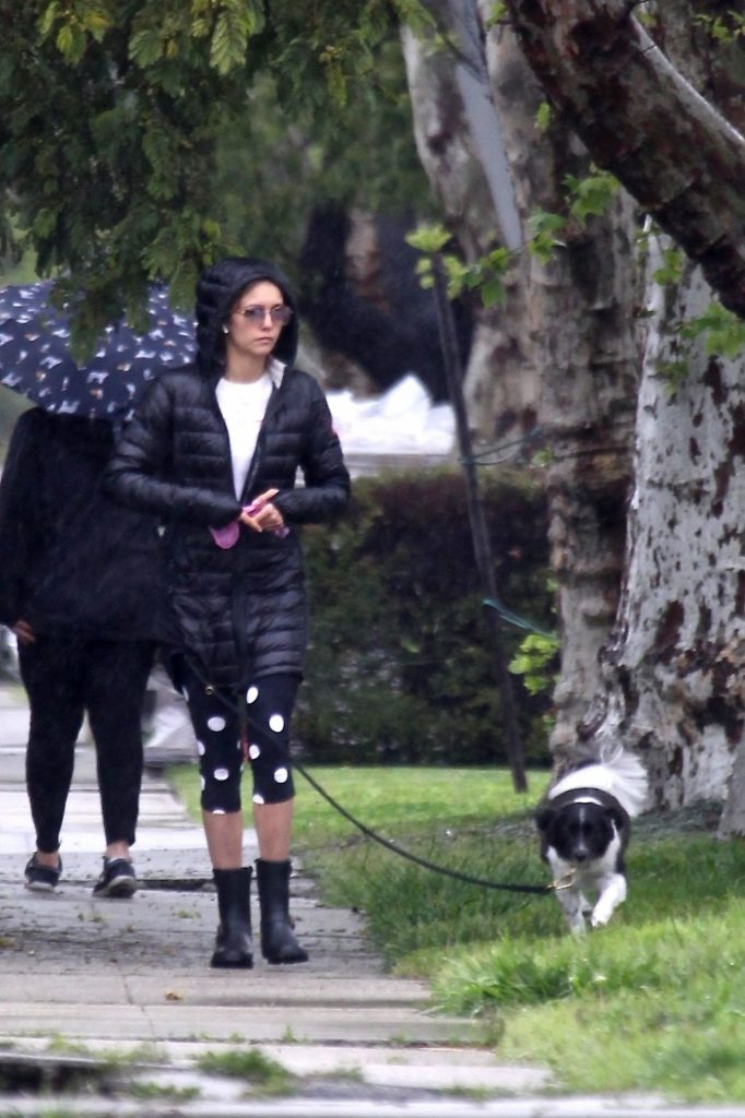 Nina Dobrev – Take Her Dog Out For a Walk in LA 2020 (7 Photos)