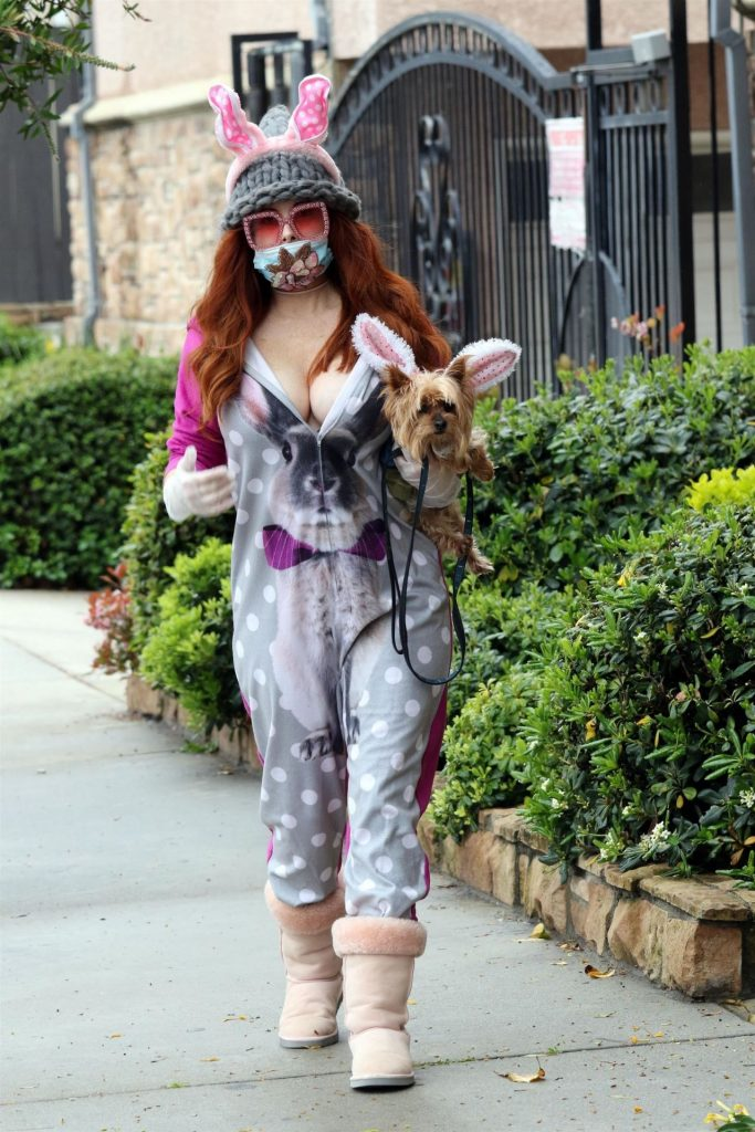 Phoebe Price in Easter Bunny Ears – LA 2020 (6 Photos)