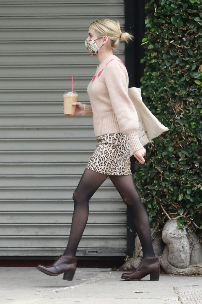Emma Roberts Casual Chic in Leopard Print Skirt – Getting Coffee in LA 2020 (7 Photos)
