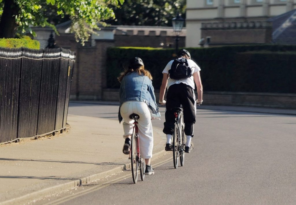 Lily James – Biking in London 2020 (10 Photos)