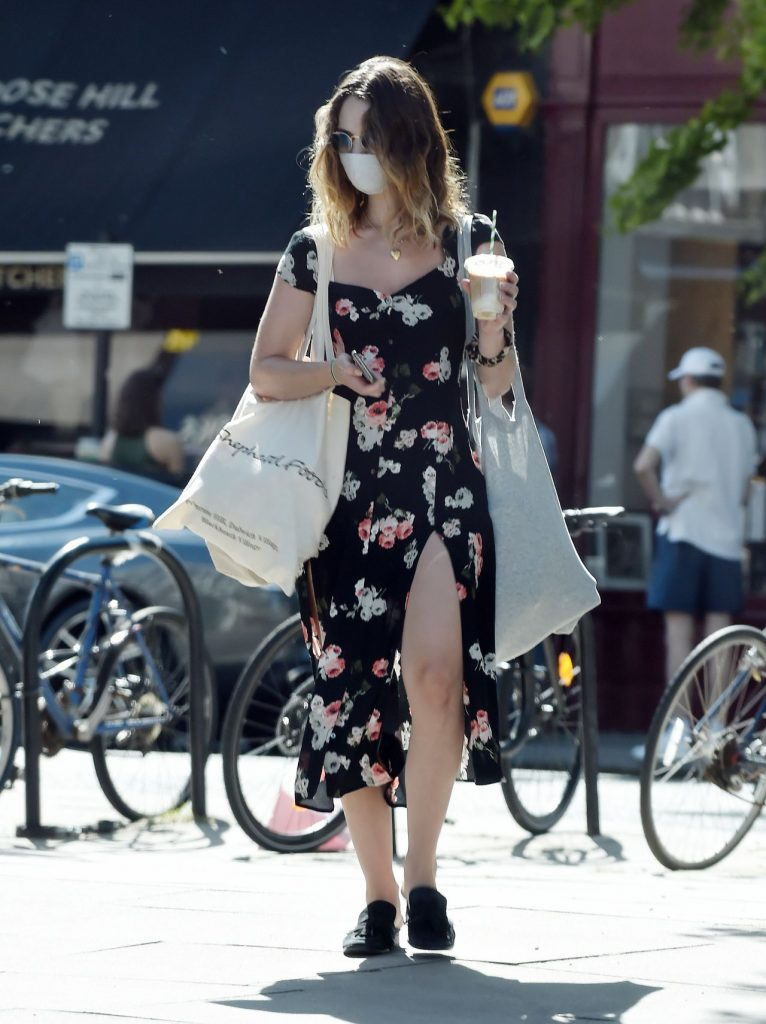 Lily James in a Black Floral Sress – Out in London 2020 (7 Photos)