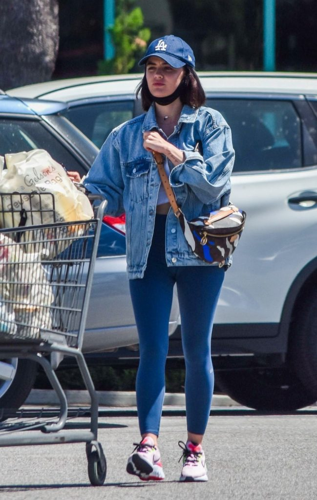 Lucy Hale in Jeans Jacket and Skintight Leggings 2020 (6 Photos)