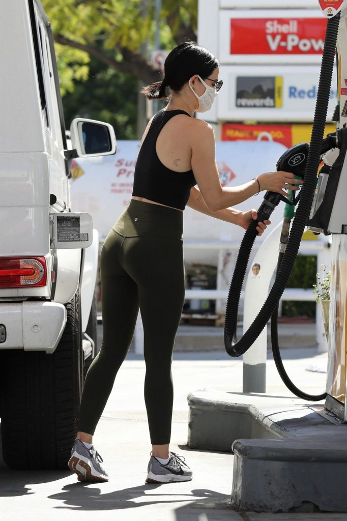 Lucy Hale in Workout Outfit at a Gas Station in Studio City 2020 (17 Photos)