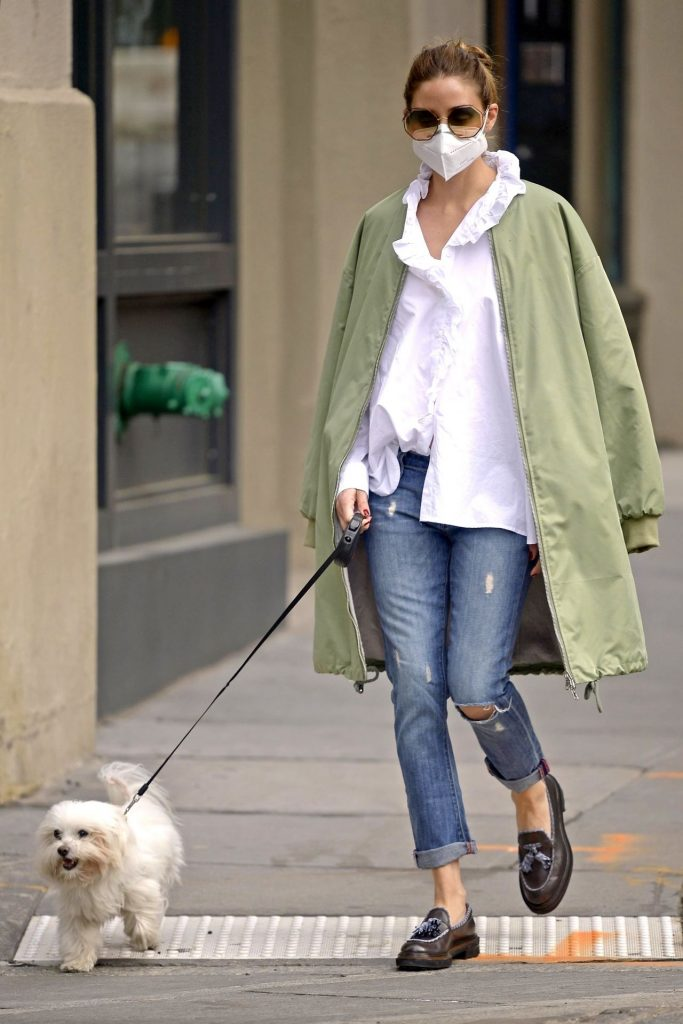 Olivia Palermo Street Style – Walking Her Dog 2020 (9 Photos)