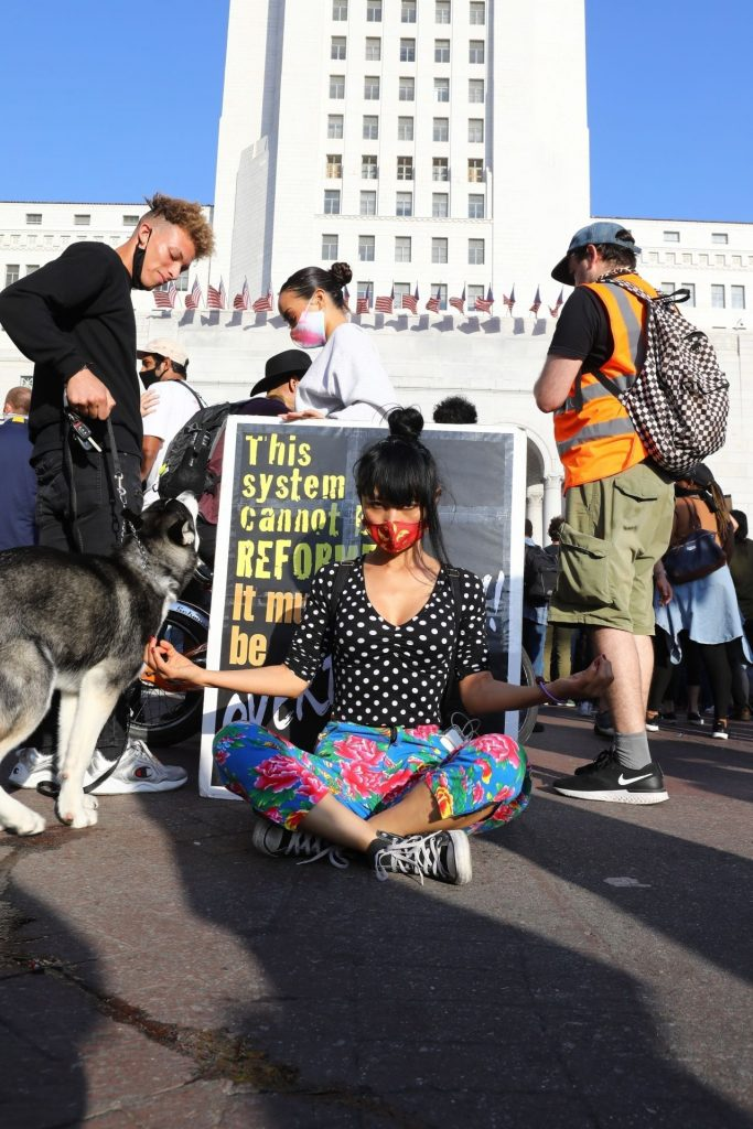 Bai Ling – Protest in Los Angeles 2020 (7 Photos)