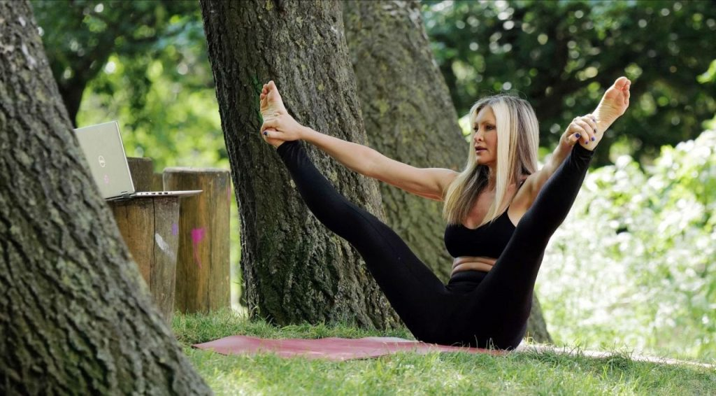 Caprice Bourret – Streaming Her Online Yoga Classes From a Park in London 2020 (14 Photos)