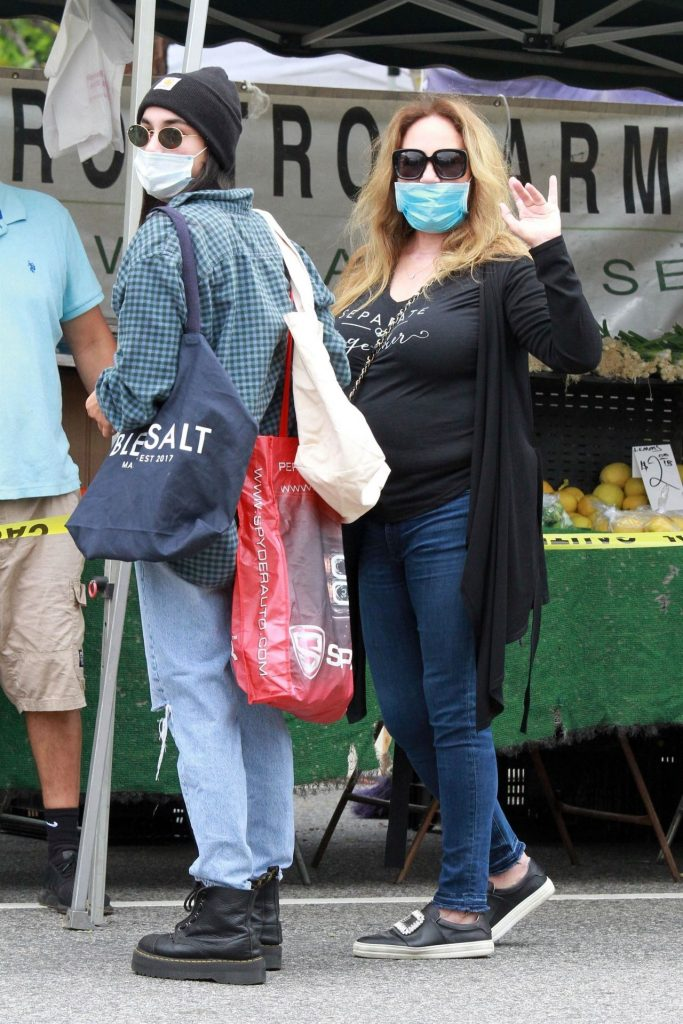 Catherine Bach – Farmers Market in LA 2020 (9 Photos)