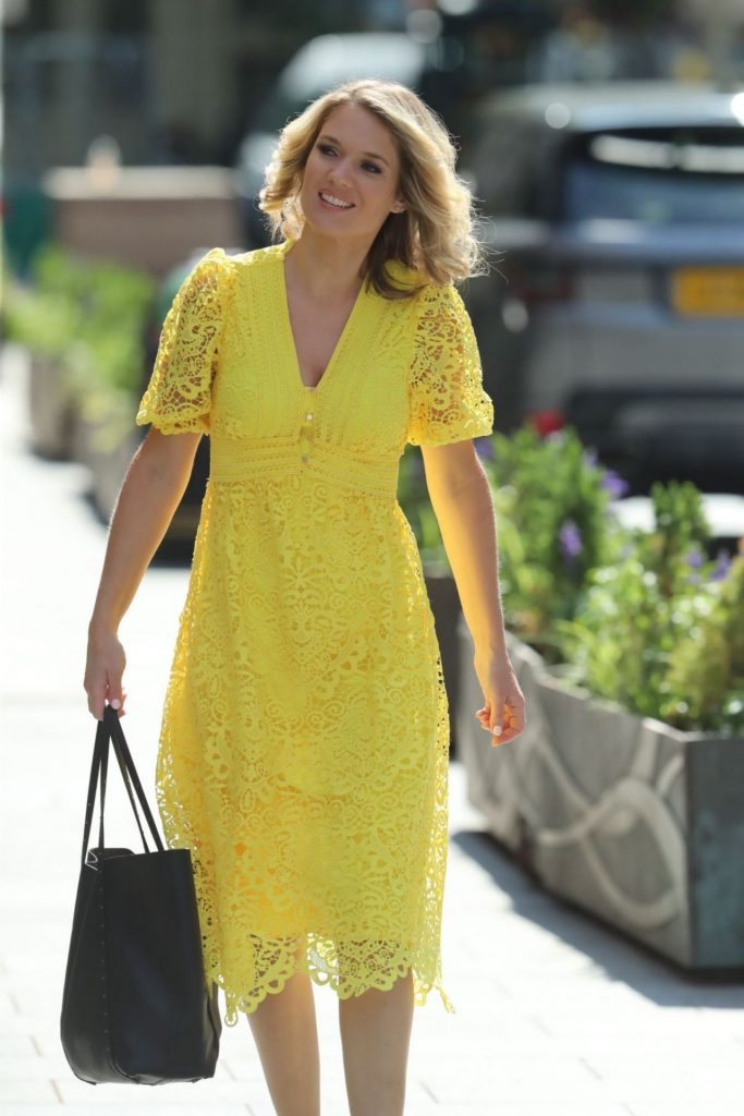 Charlotte Hawkins in a Sunny Yellow Lace Dress 2020 (7 Photos)