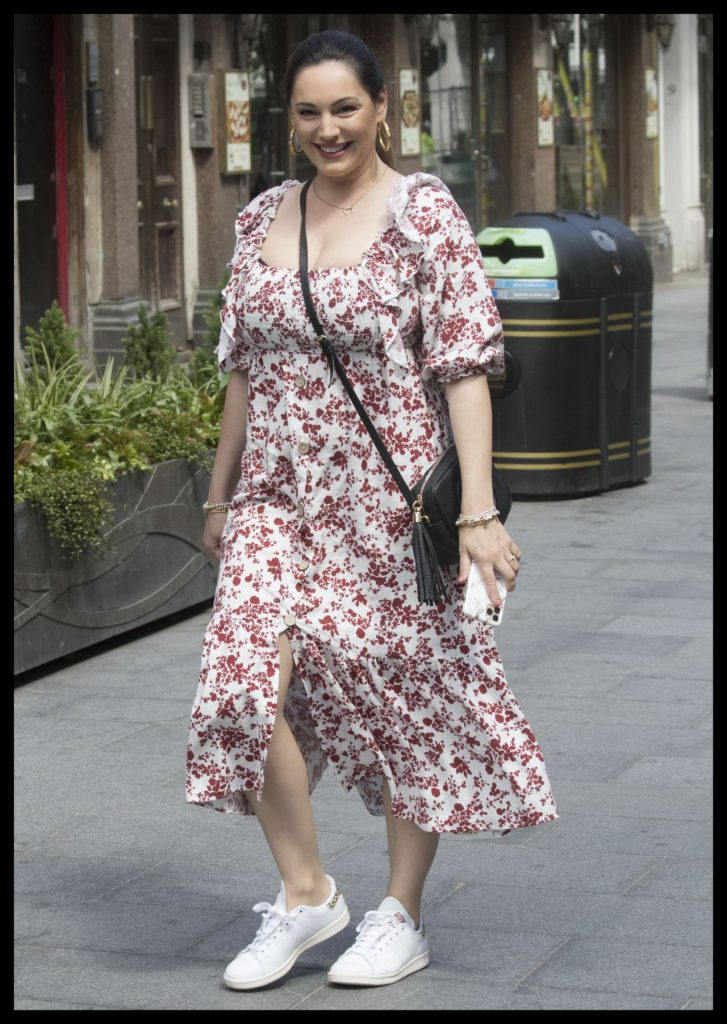 Kelly Brook in a Red and White Floral Dress 2020 (5 Photos)