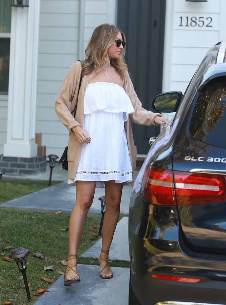 Stassi Schroeder in Flowing White Mini Dress and Strappy Heels – Los Angeles 2020