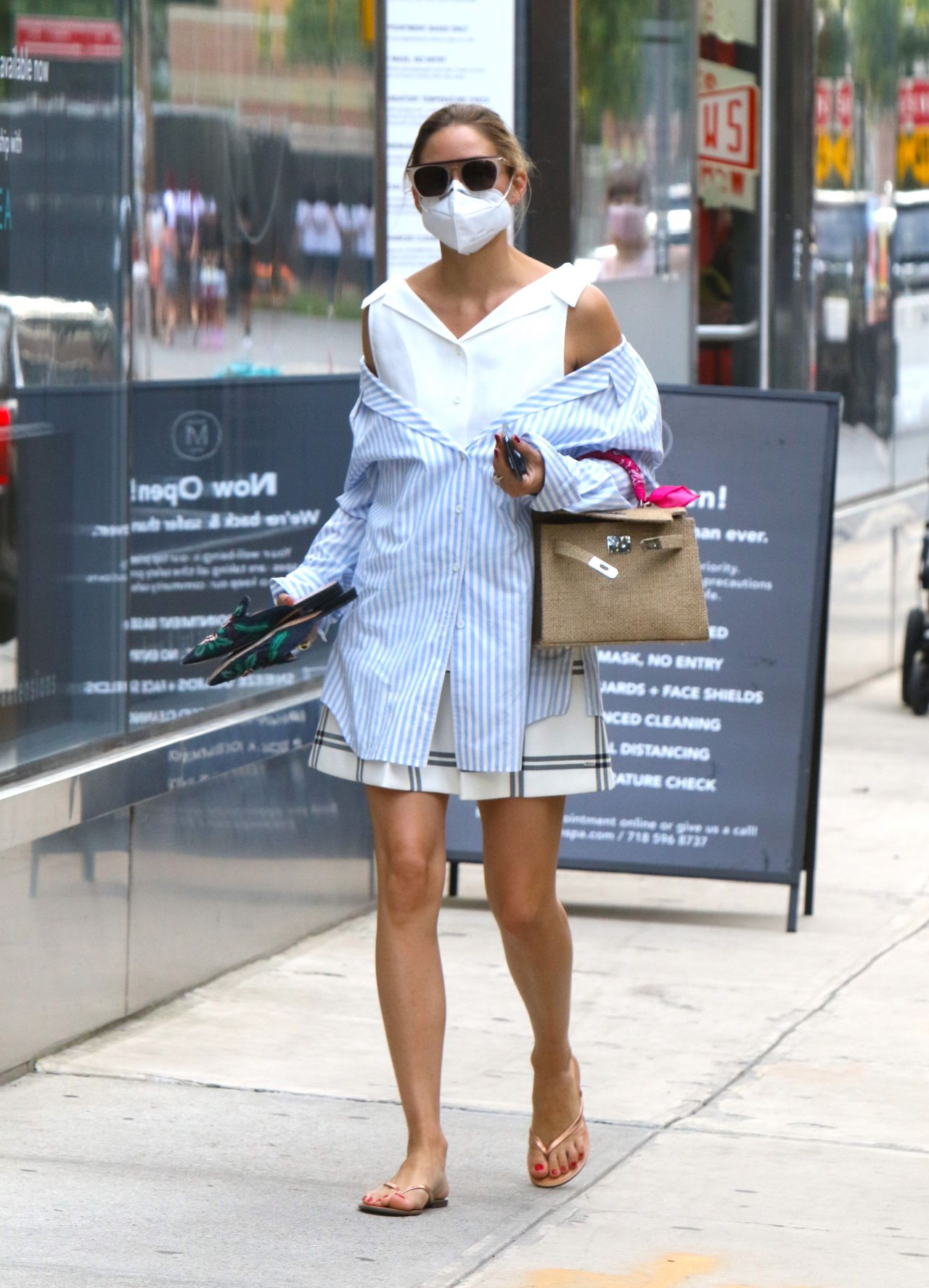 Selma Blair in White Shirt-Dress and Pink Face Mask 2020 (8 Photos)