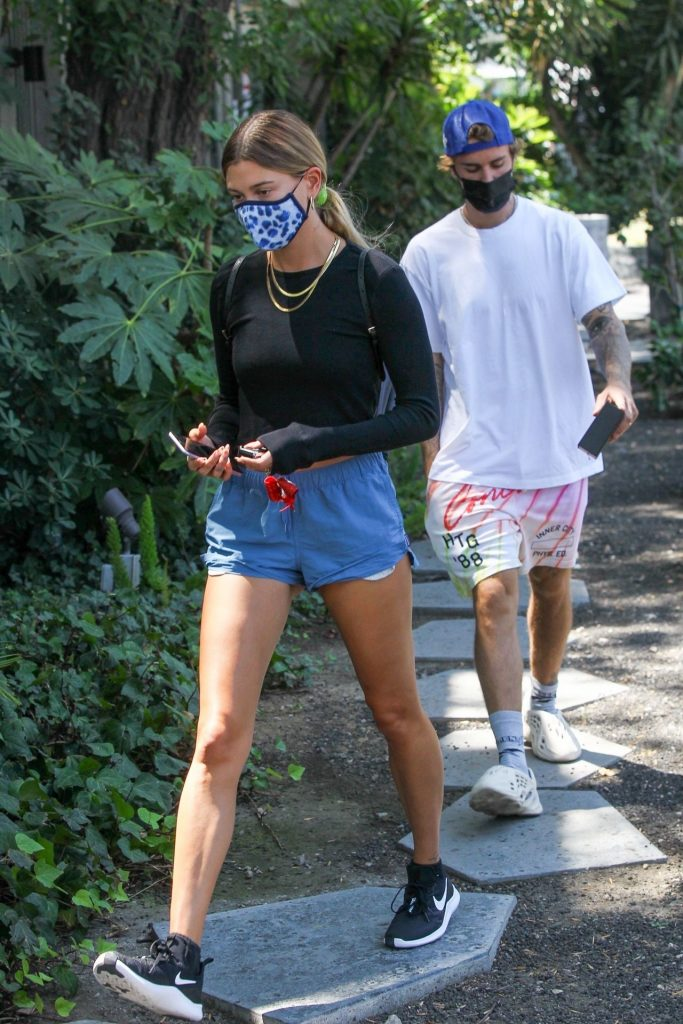 Hailey Bieber Leggy in Shorts – West Hollywood 2020